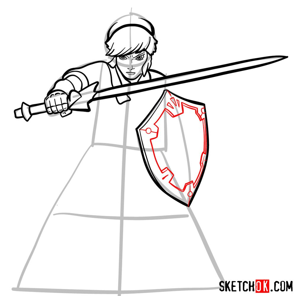 How to draw Link from The Legend of Zelda game - step 10