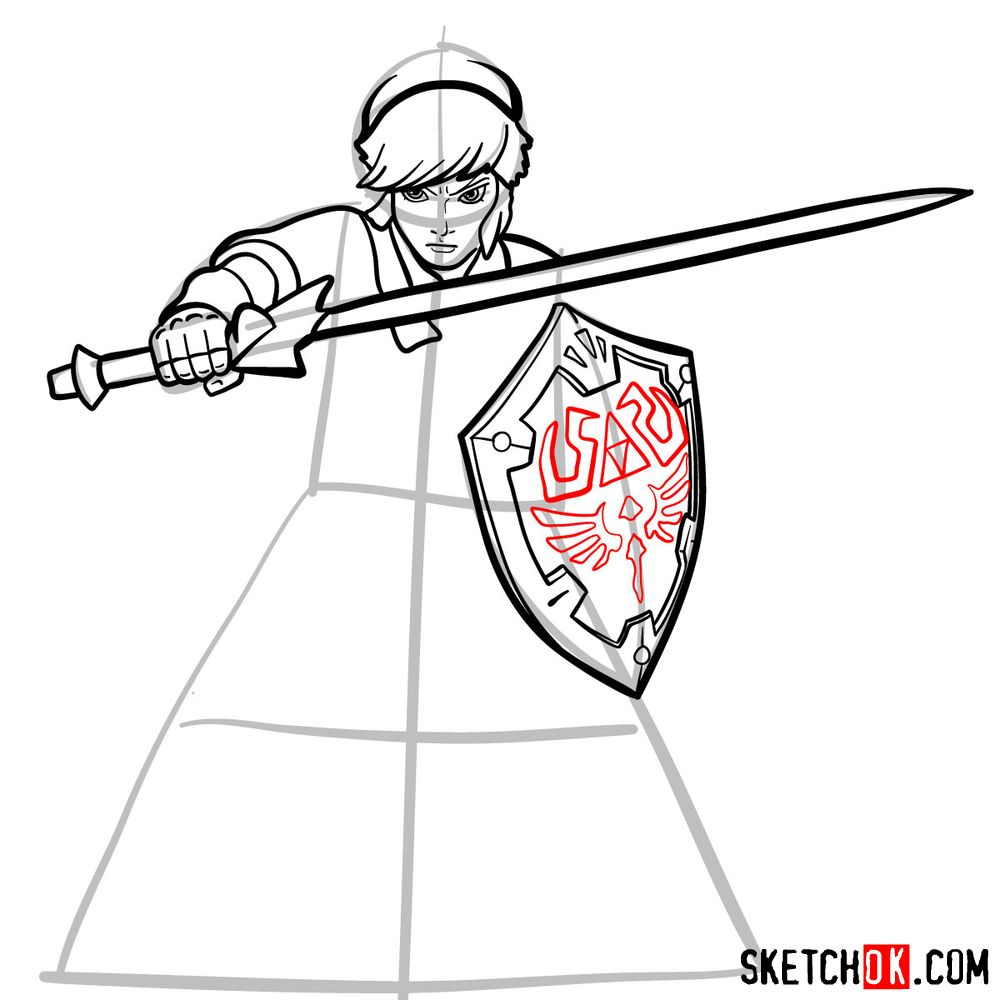 How to draw Link from The Legend of Zelda game - step 11