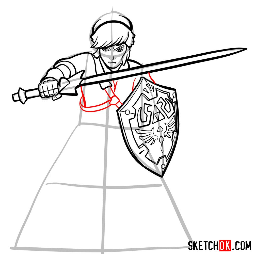 How to draw Link from The Legend of Zelda game - step 12