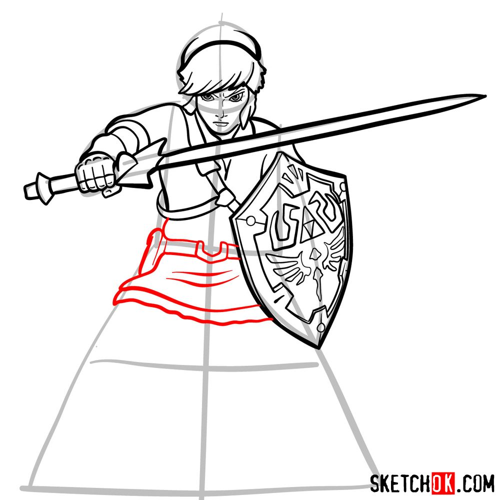 How to draw Link from The Legend of Zelda game - step 13