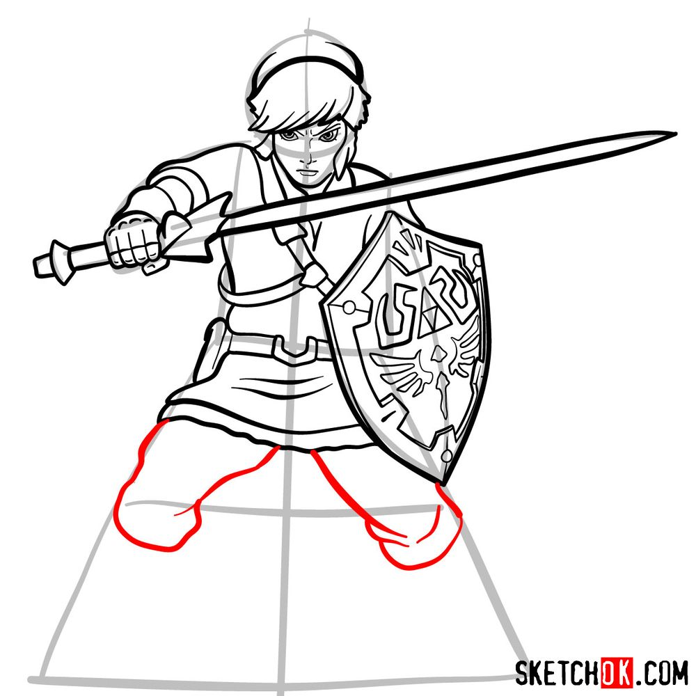 How to draw Link from The Legend of Zelda game - step 14