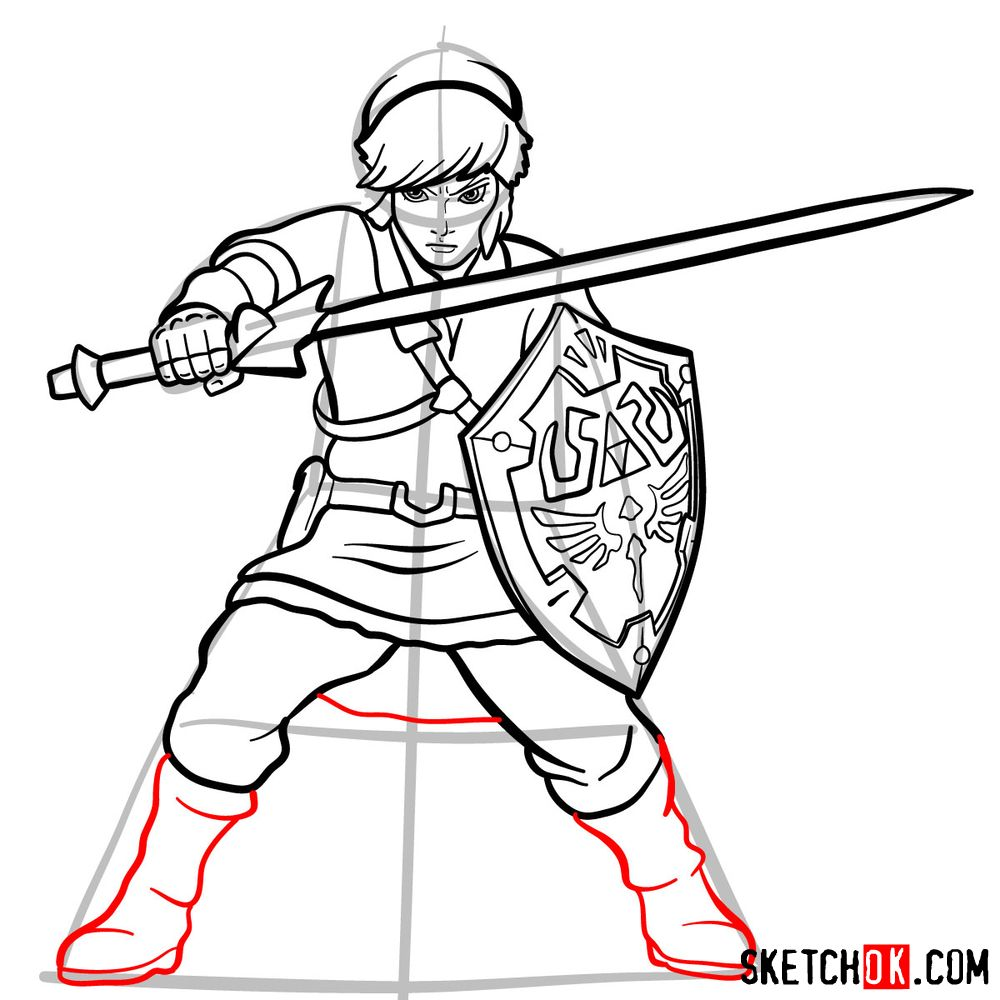 How to draw Link from The Legend of Zelda game - step 15