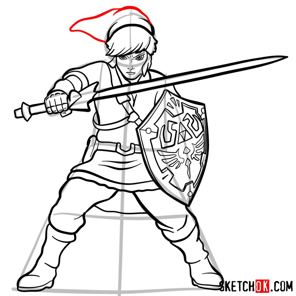How to draw Link from The Legend of Zelda game - step 16