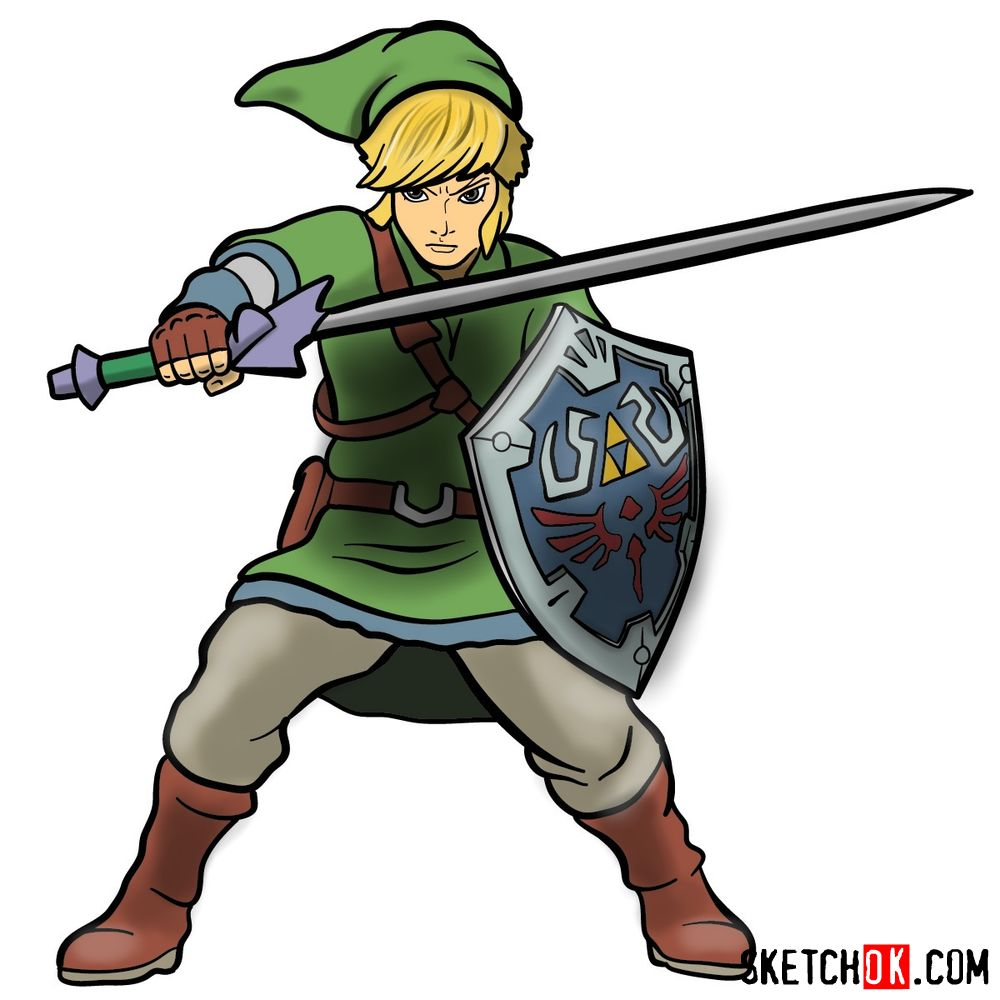 How to draw Link from The Legend of Zelda game