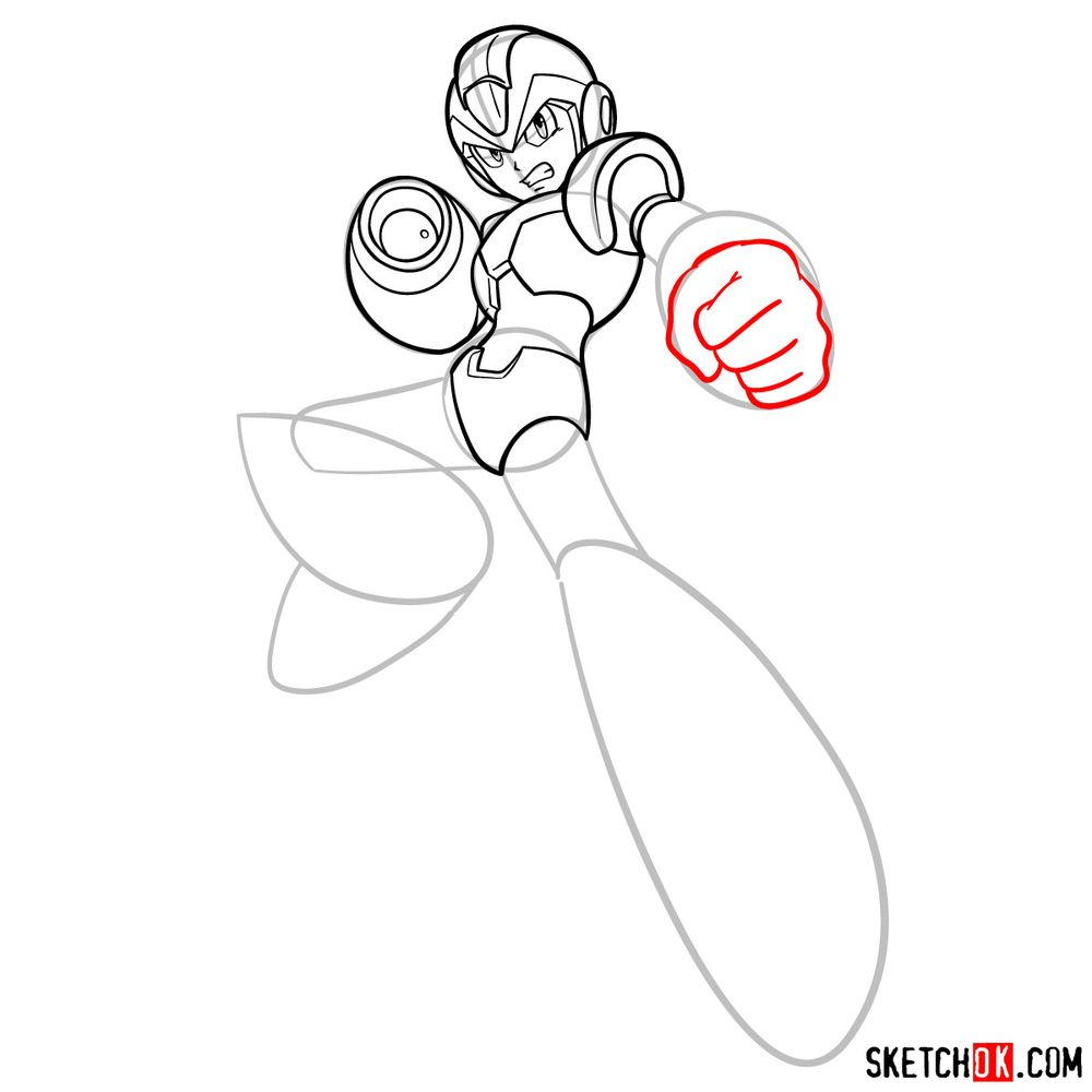 How to draw Mega Man - step 12