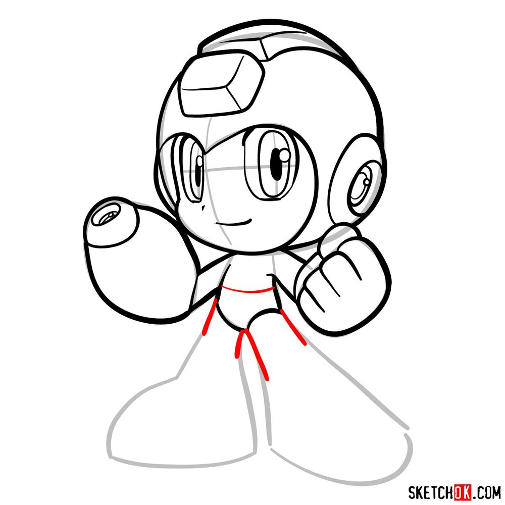 How to draw Mega Man chibi - step 13