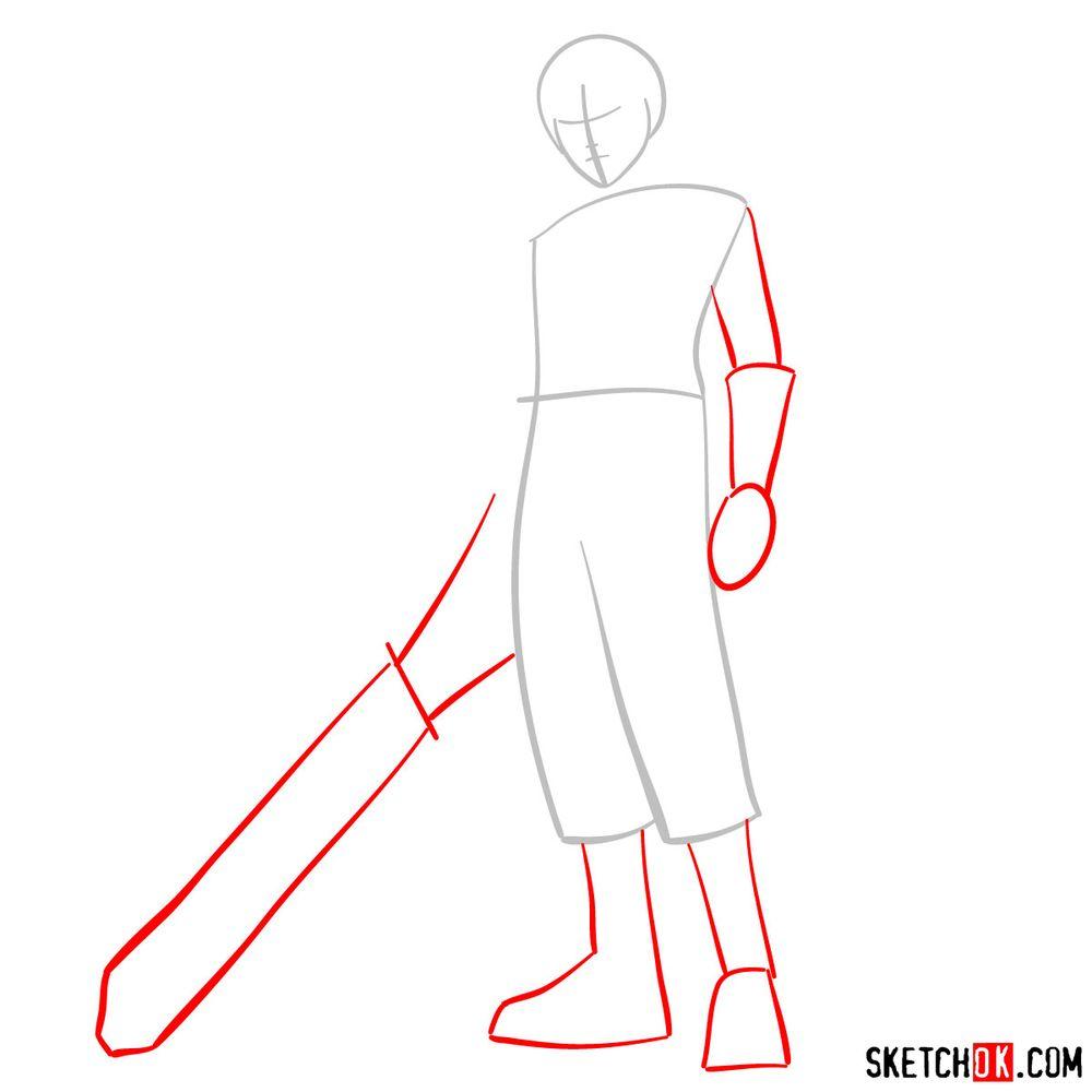 How to draw Riku - step 02