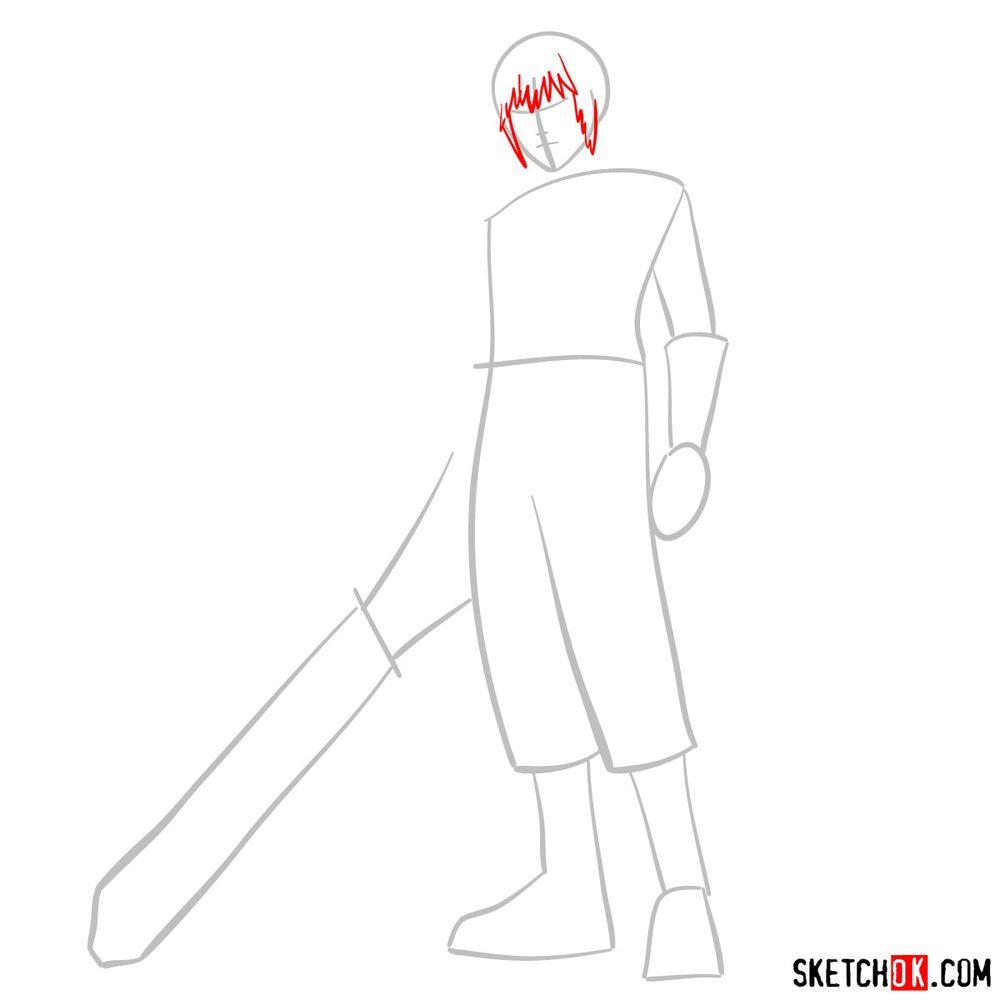 How to draw Riku - step 03