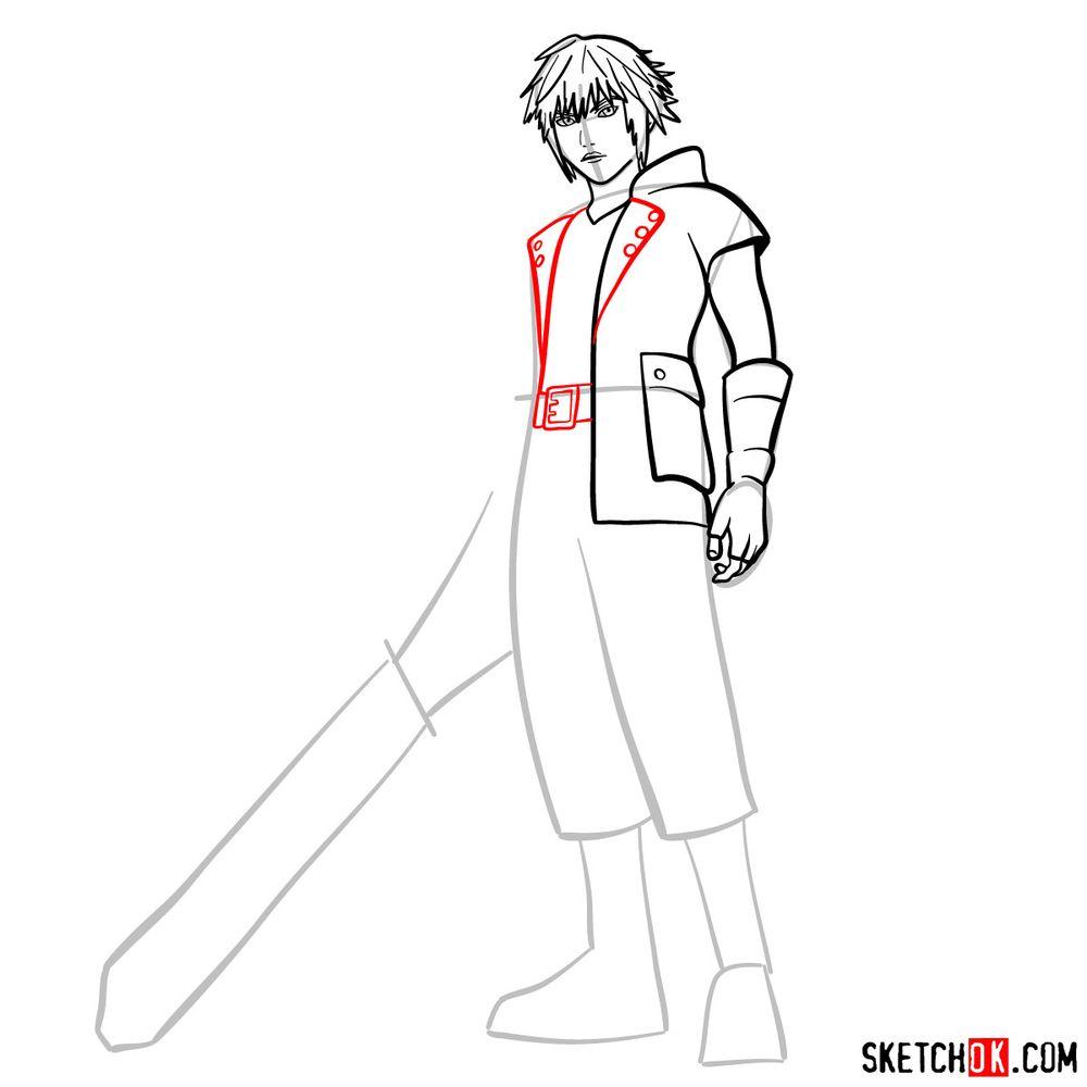 How to draw Riku - step 09