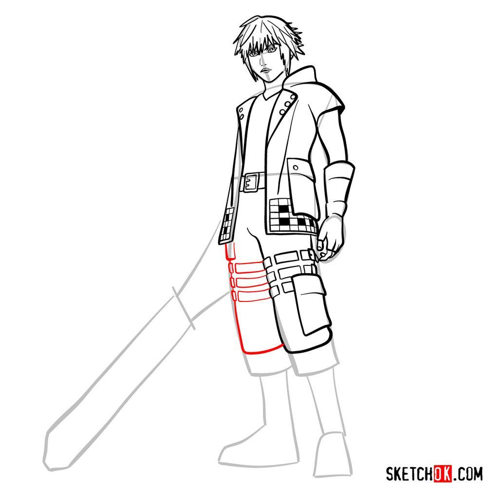 How to draw Riku - step 12