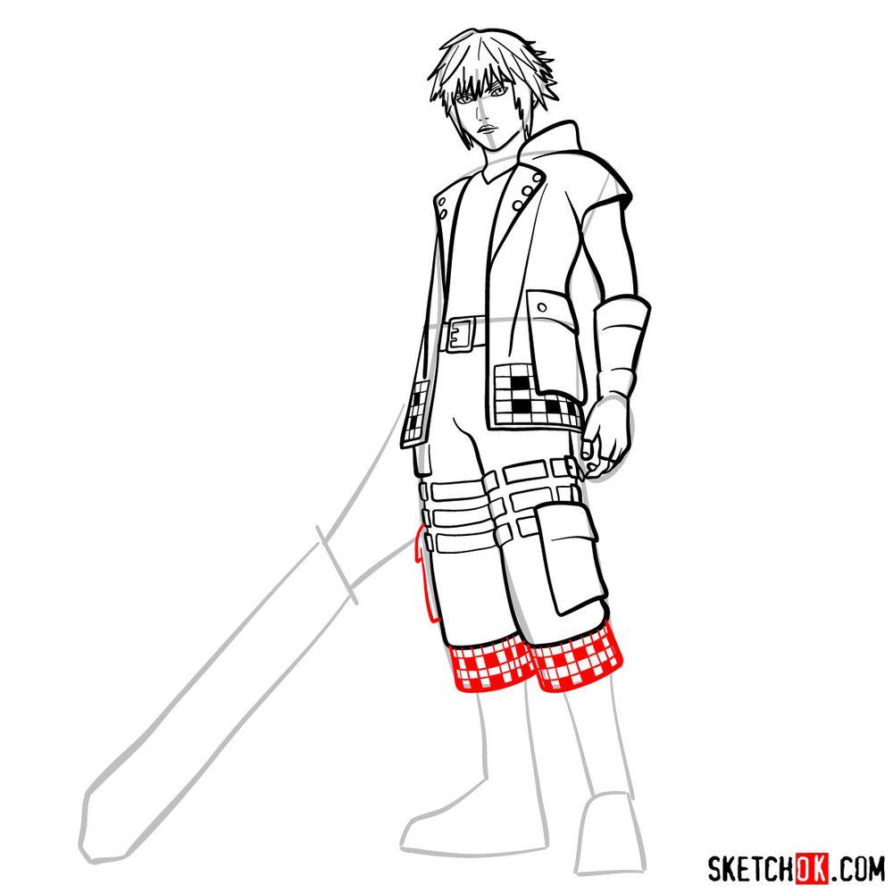 How to draw Riku - step 13