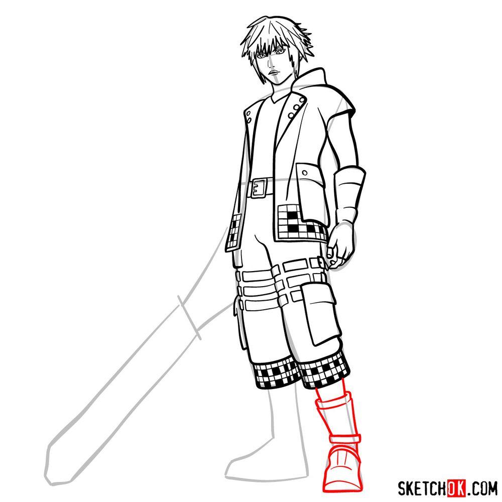 How to draw Riku - step 14