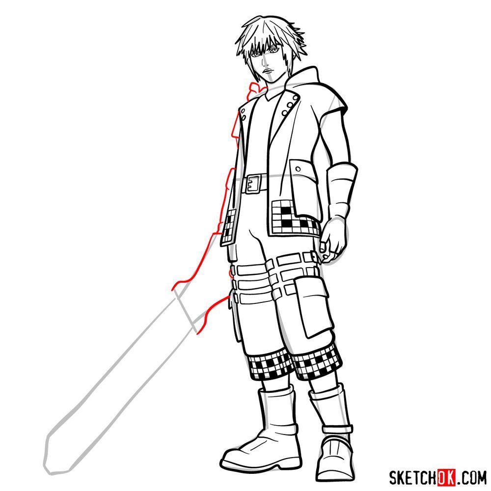 How to draw Riku - step 16