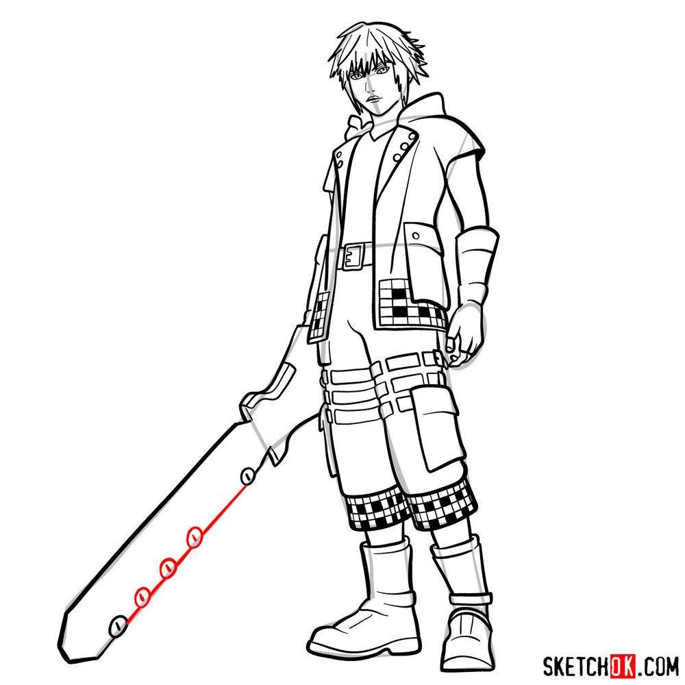 How to draw Riku - step 18
