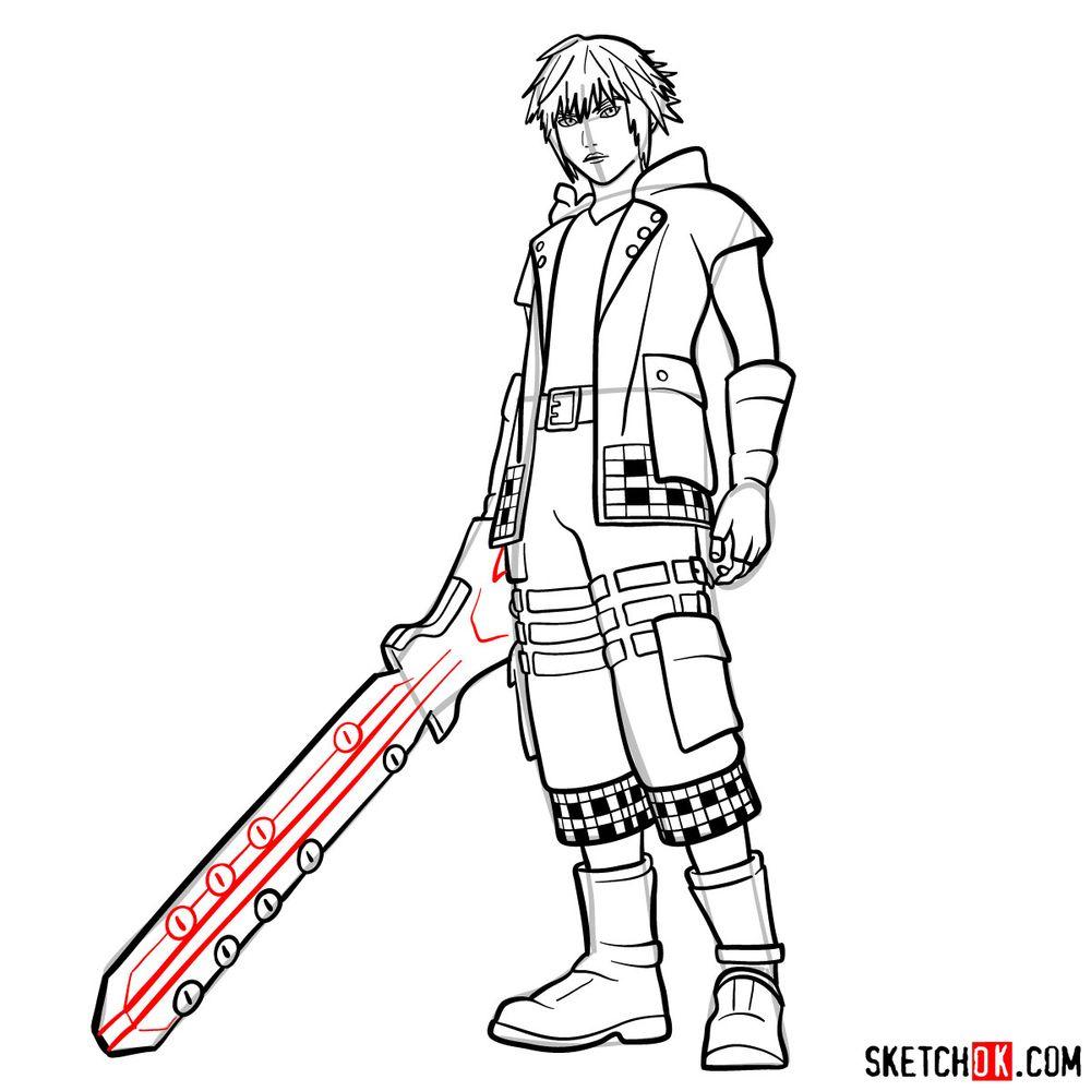 How to draw Riku - step 19