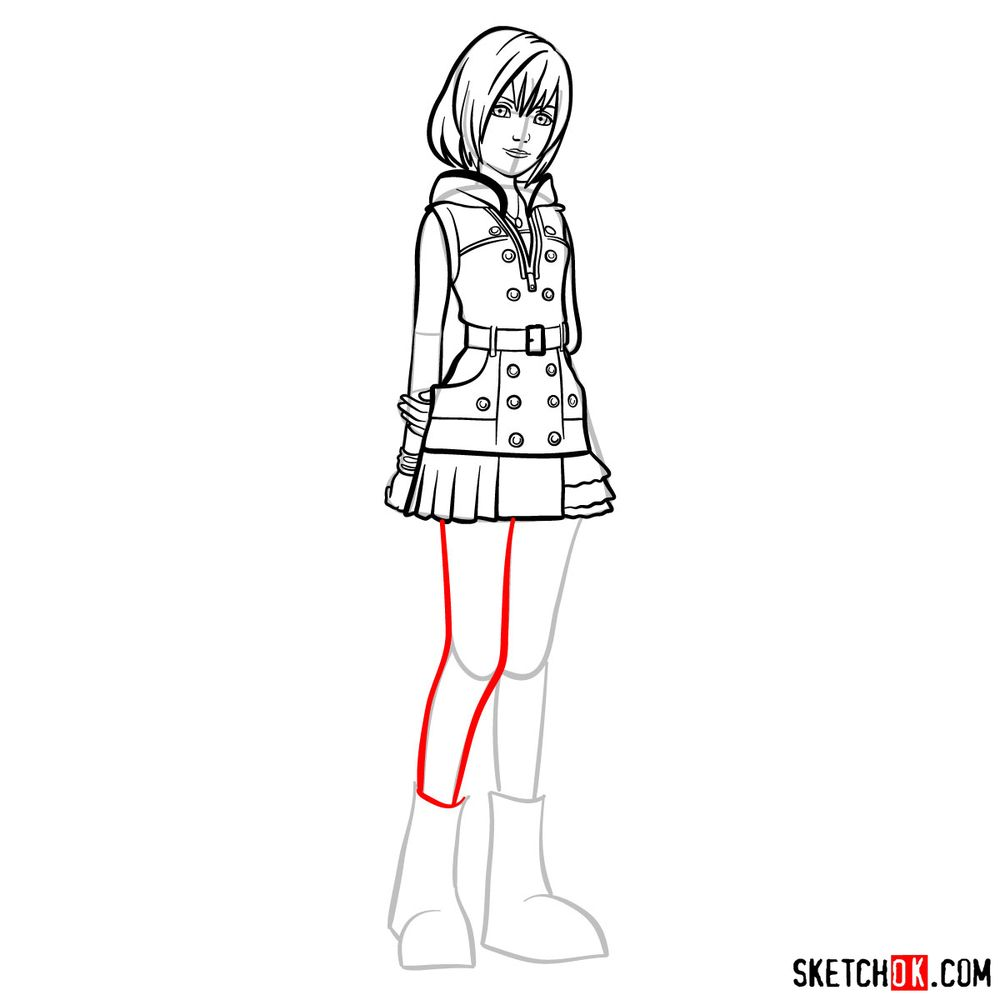 How to draw Kairi - step 12