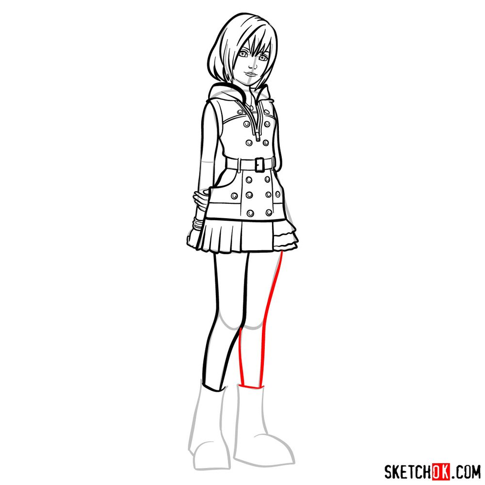 How to draw Kairi - step 13