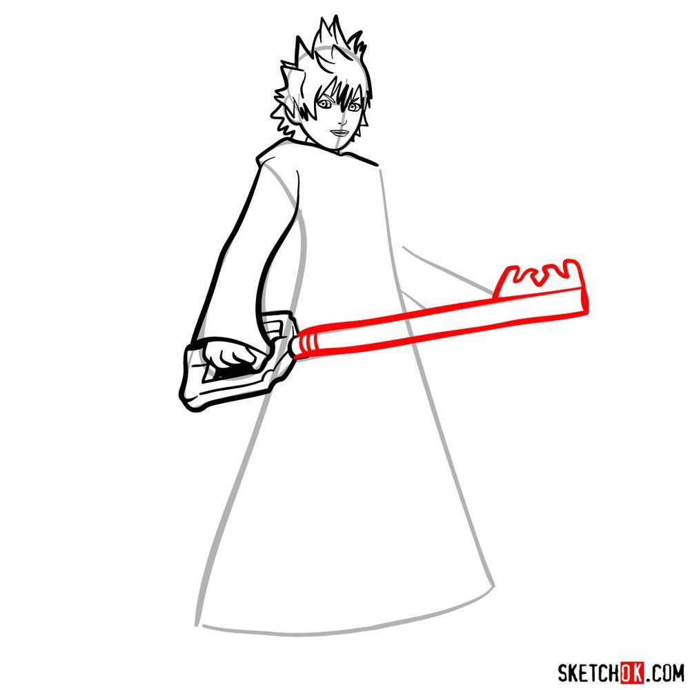 How to draw Roxas - step 09