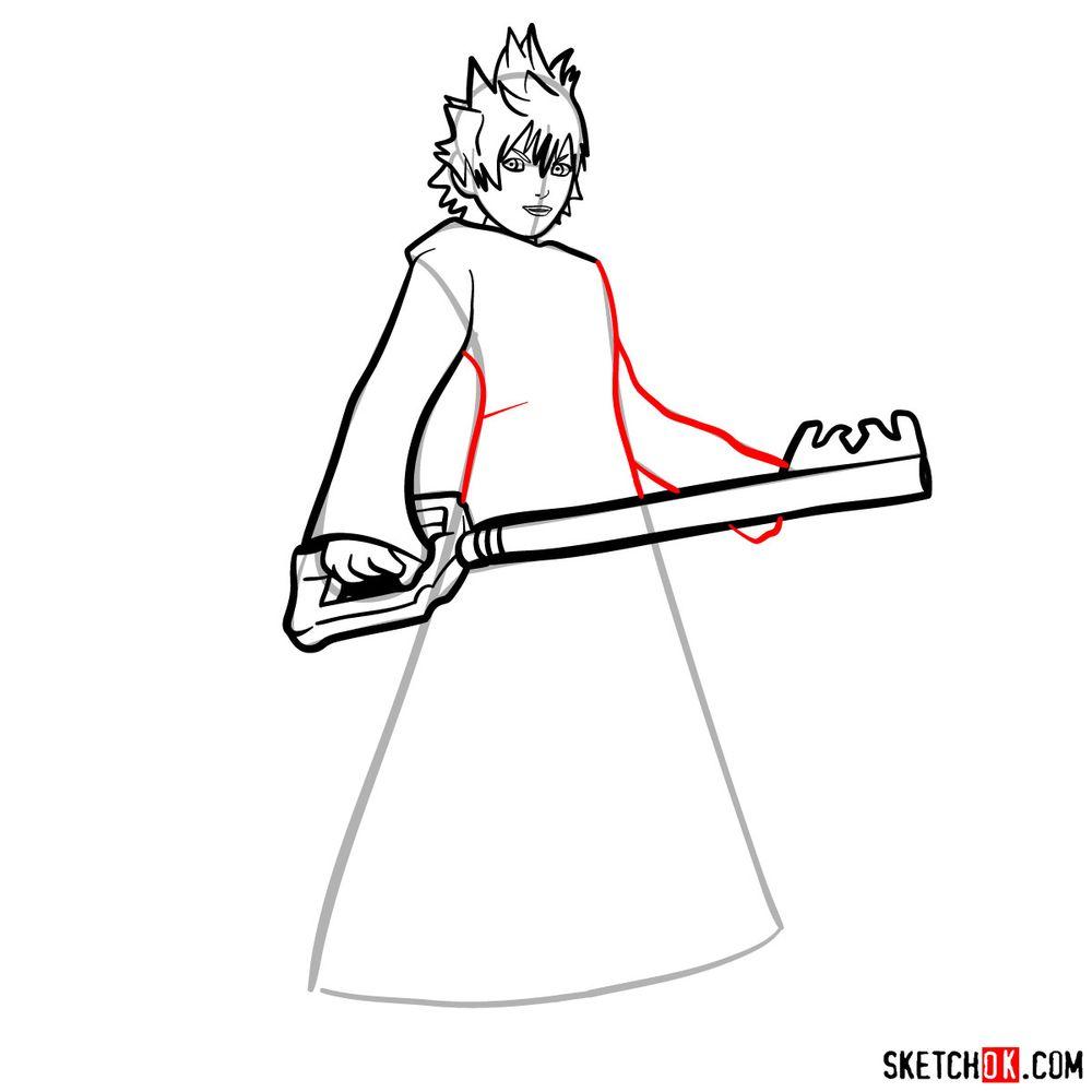 How to draw Roxas - step 10