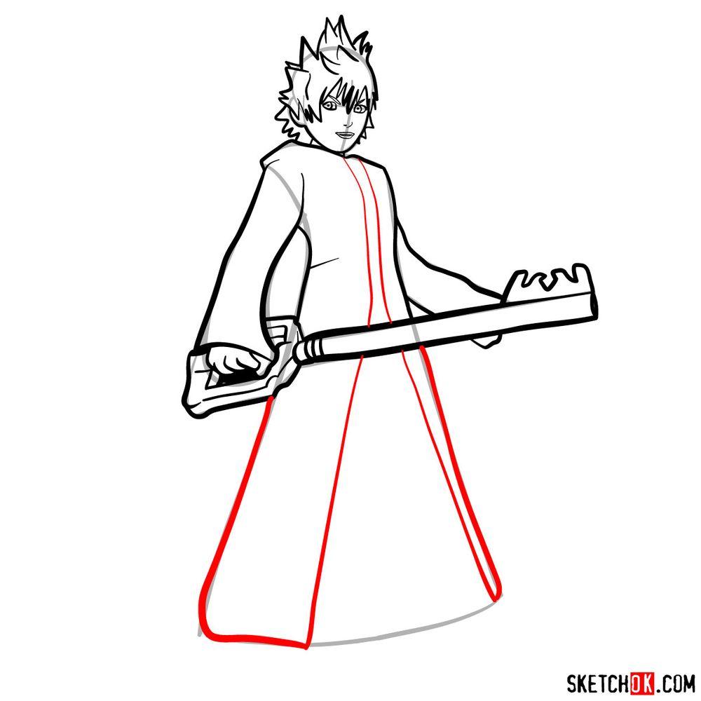 How to draw Roxas - step 11
