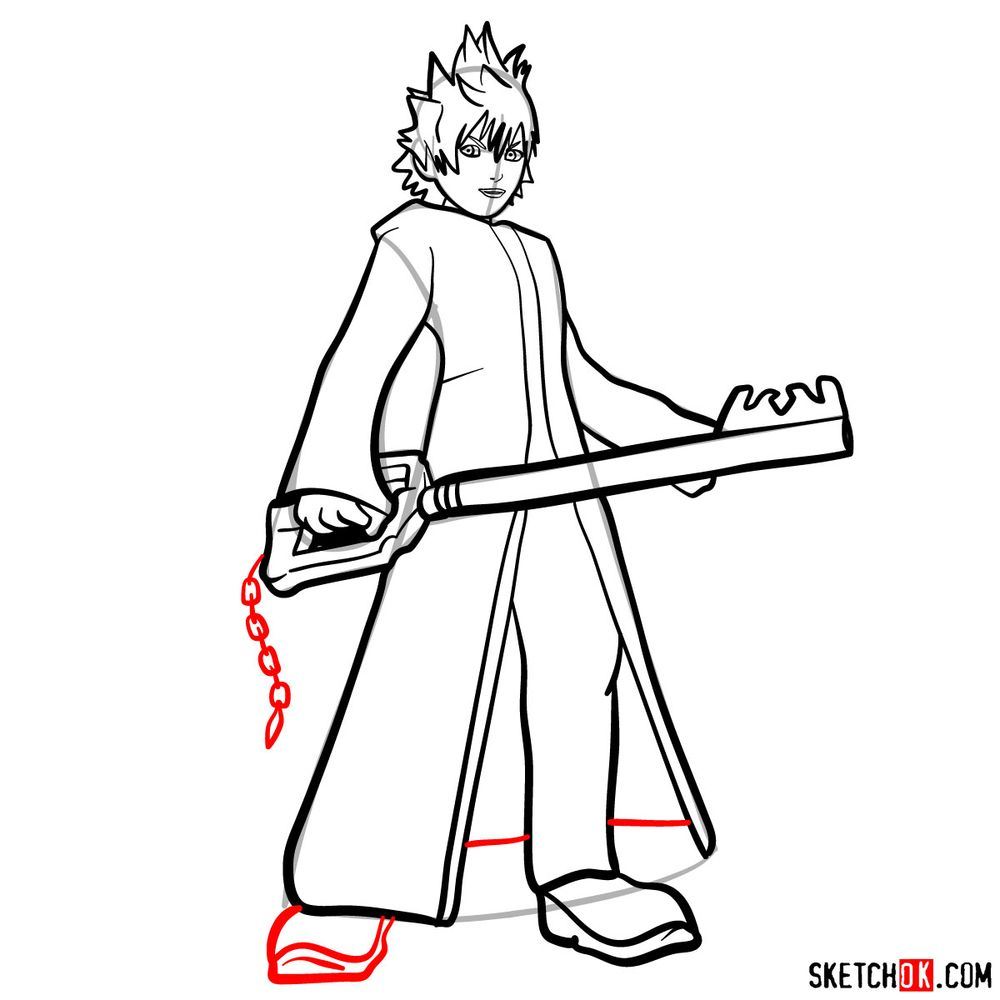 How to draw Roxas - step 13