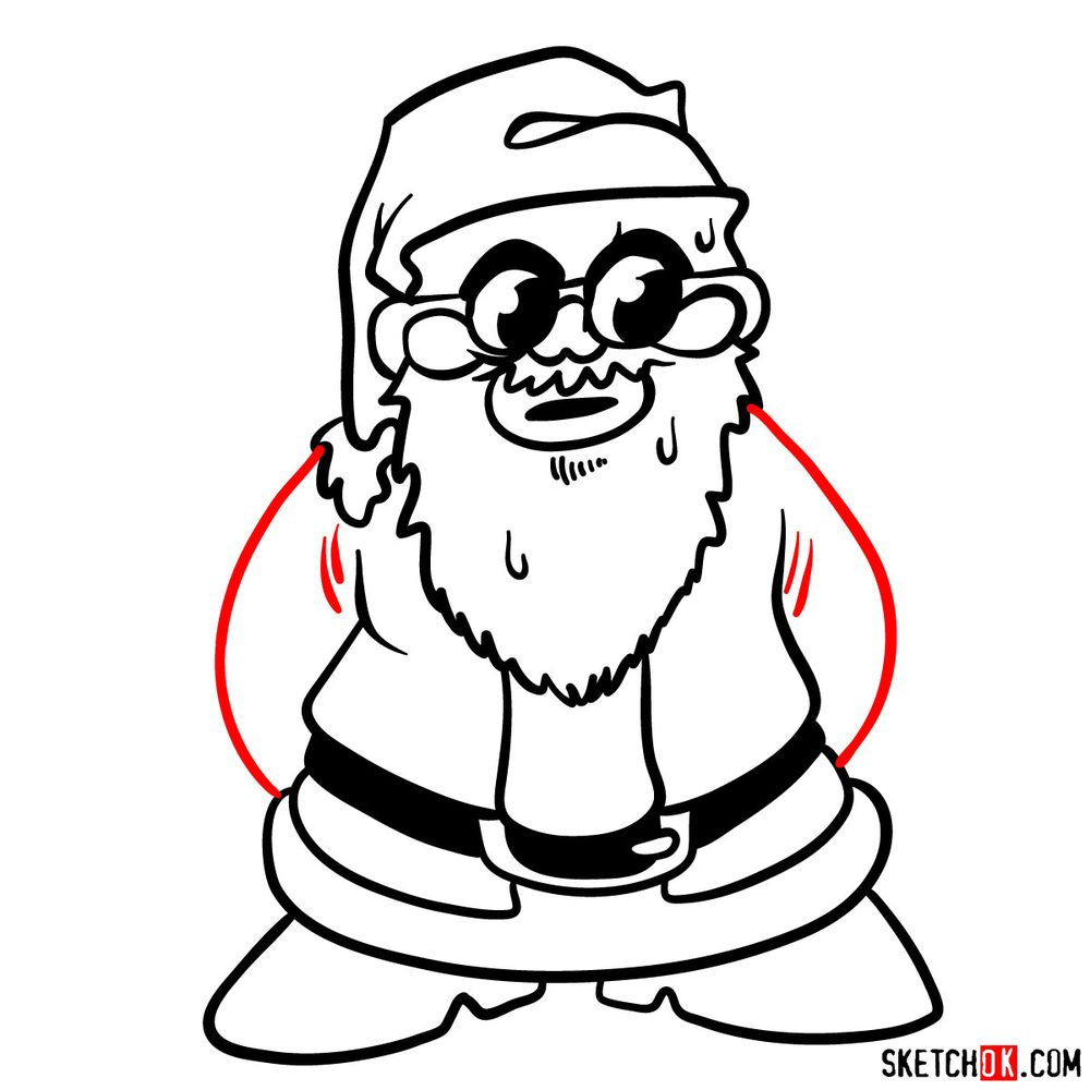 How to draw Santa Claus - step 09