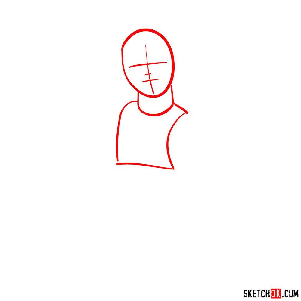 How to draw Senpai - step 01