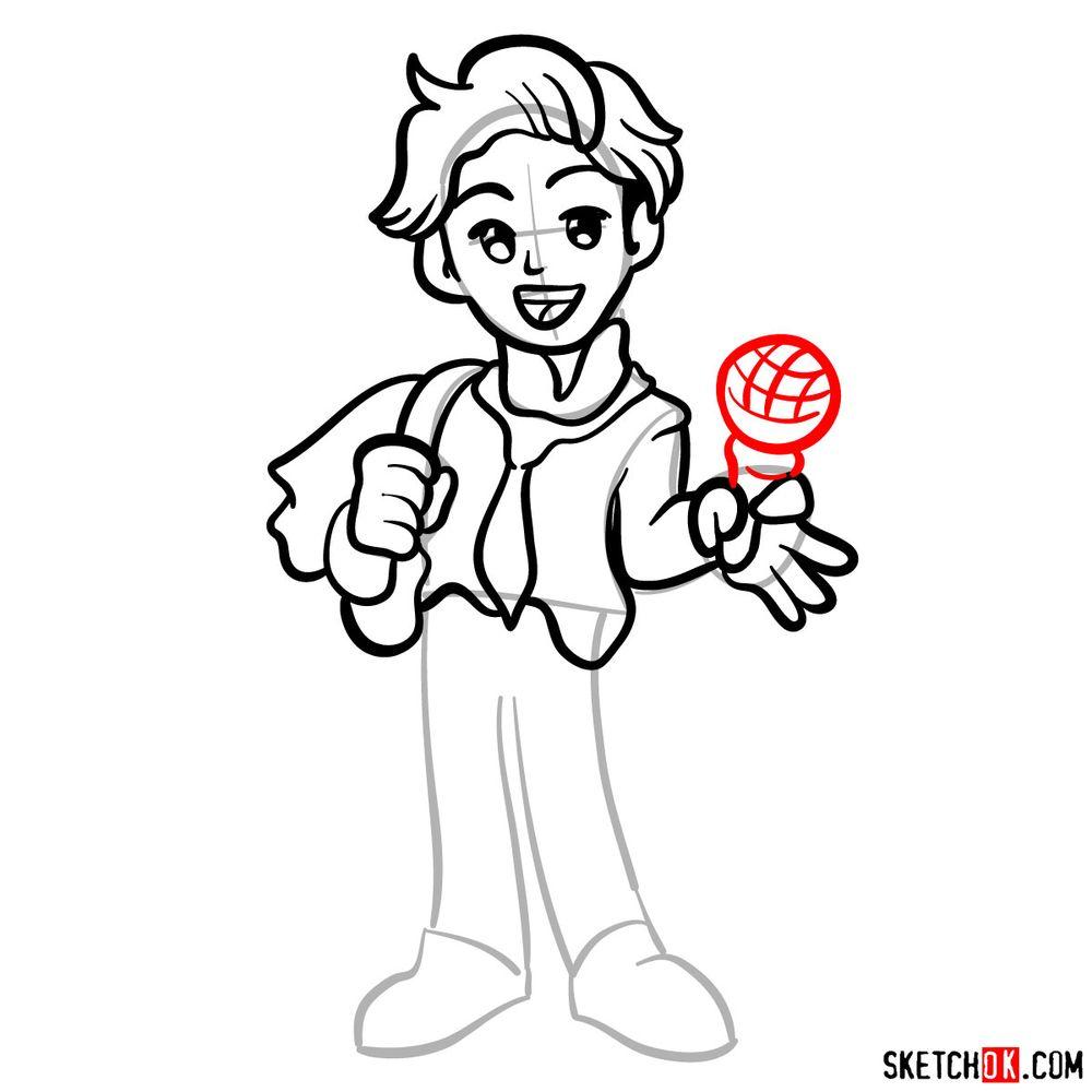 How to draw Senpai - step 11