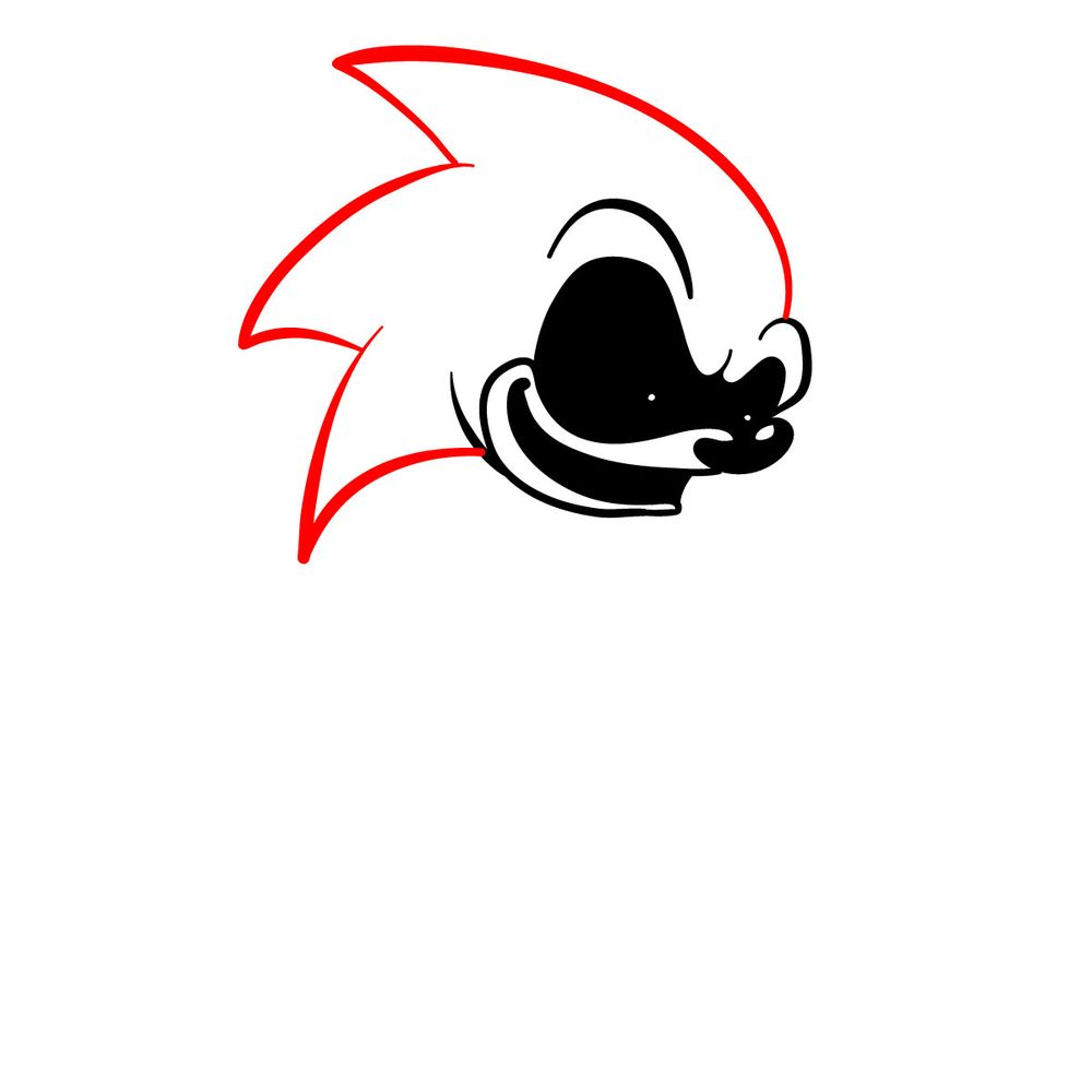 How to draw Sonic.Exe - FNF - step 08