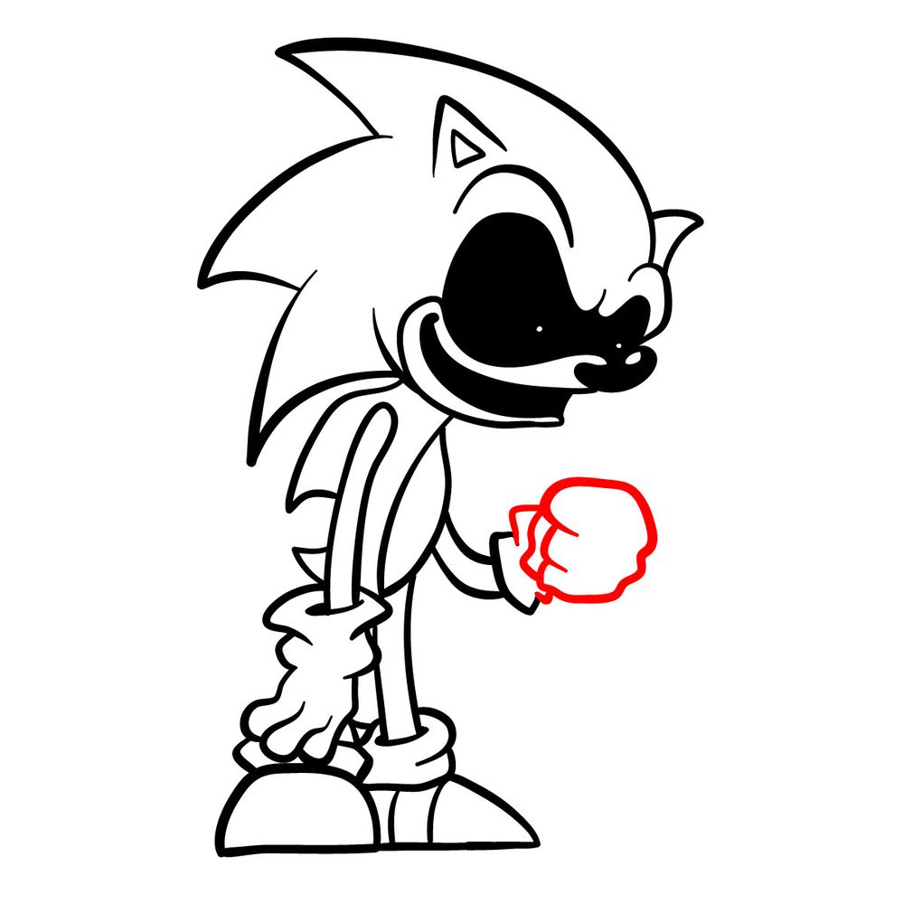How to draw Sonic.Exe - FNF - step 18