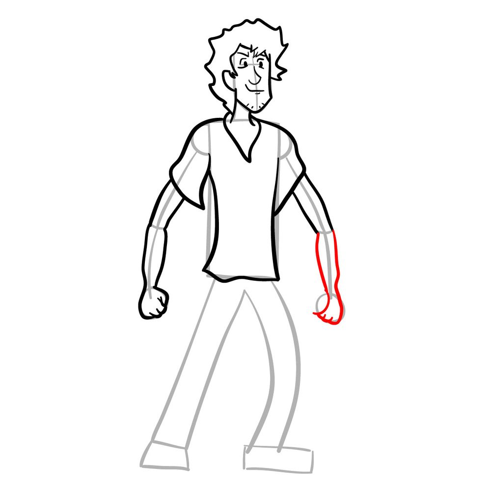 How to draw Shaggy - FNF - step 16