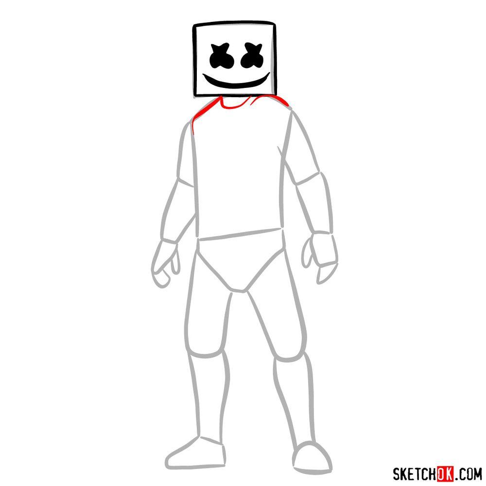How to draw Marshmello - step 05