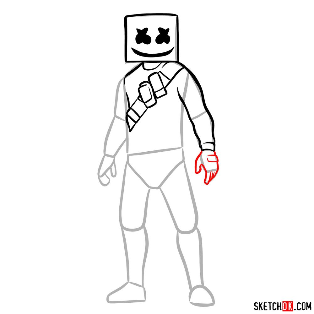 How to draw Marshmello - step 08