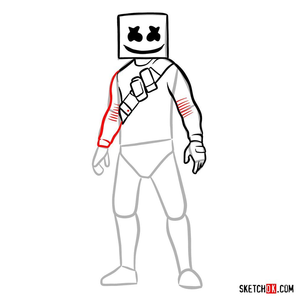 How to draw Marshmello - step 09