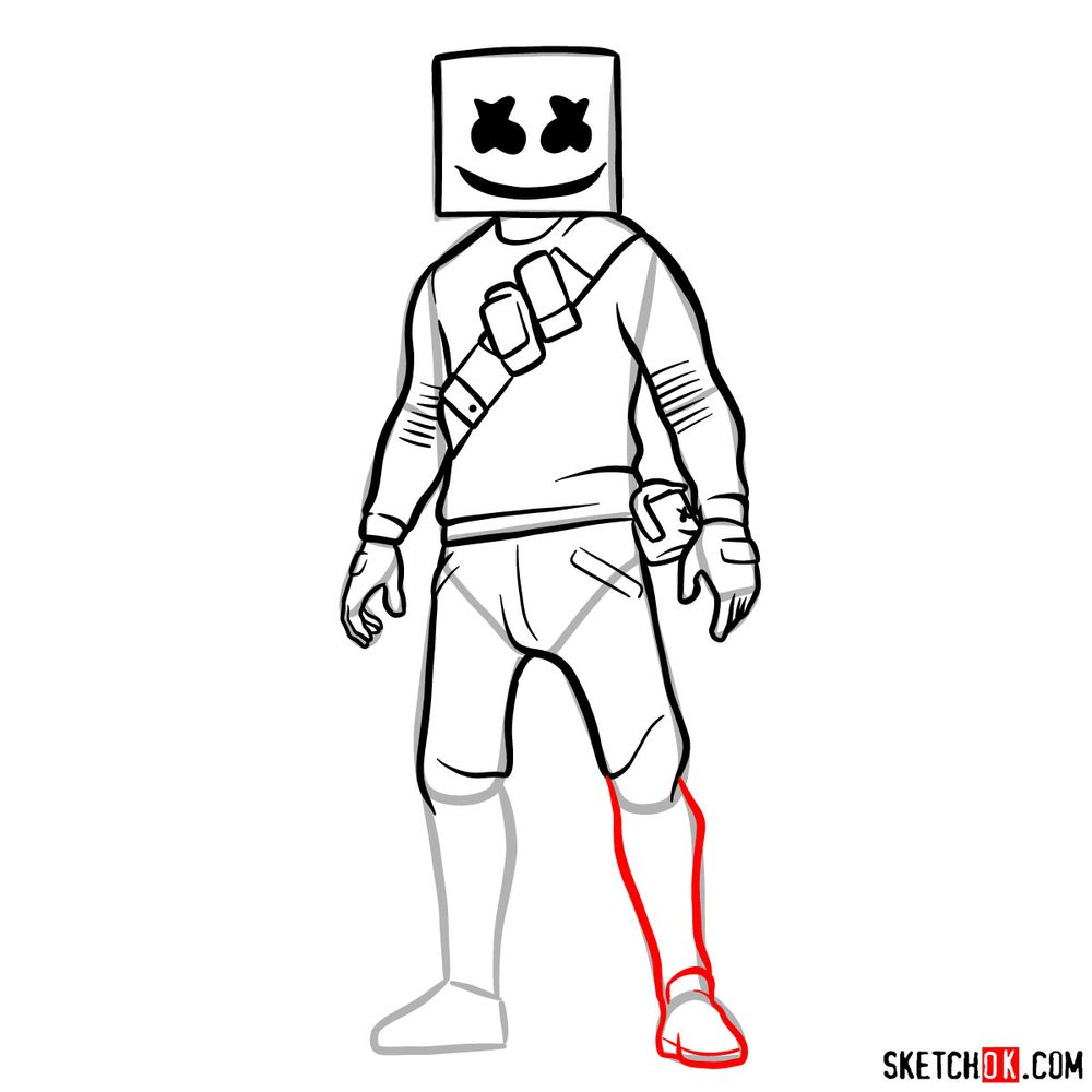 How to draw Marshmello - step 13