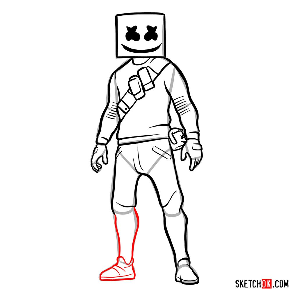 How to draw Marshmello - step 14