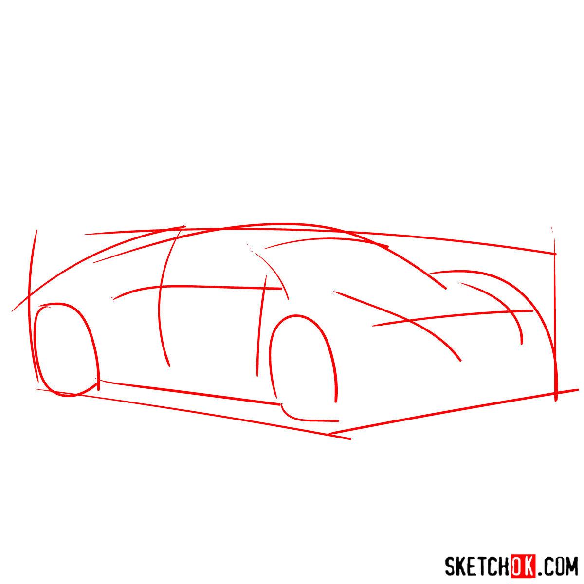 How to draw Bugatti Veyron 16.4 Super Sport - step 01