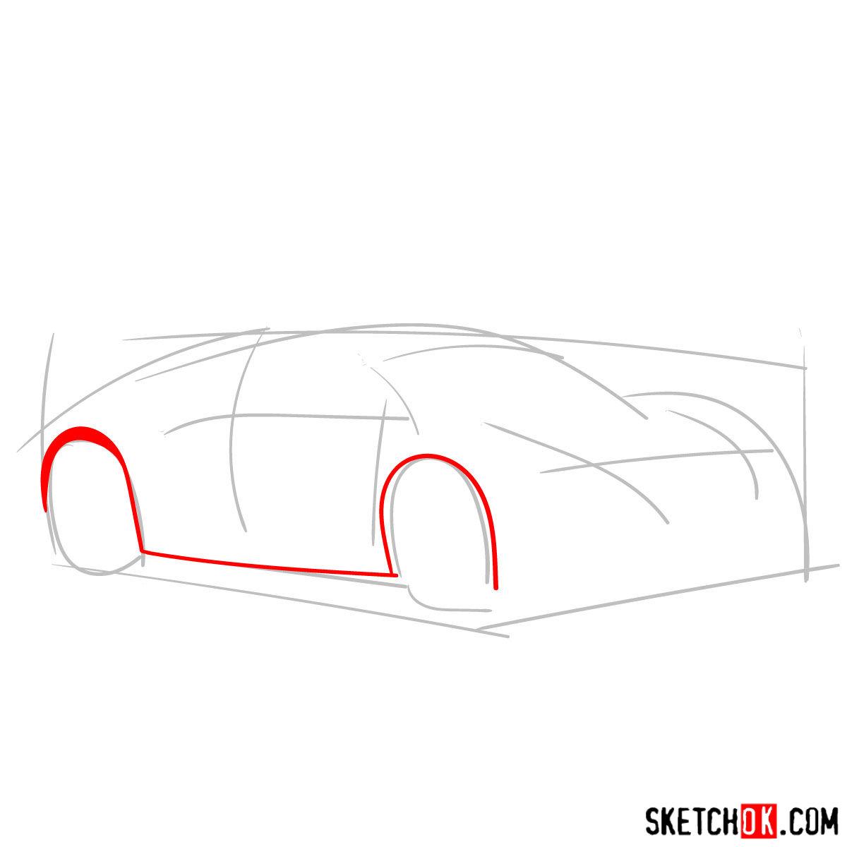 How to draw Bugatti Veyron 16.4 Super Sport - step 02