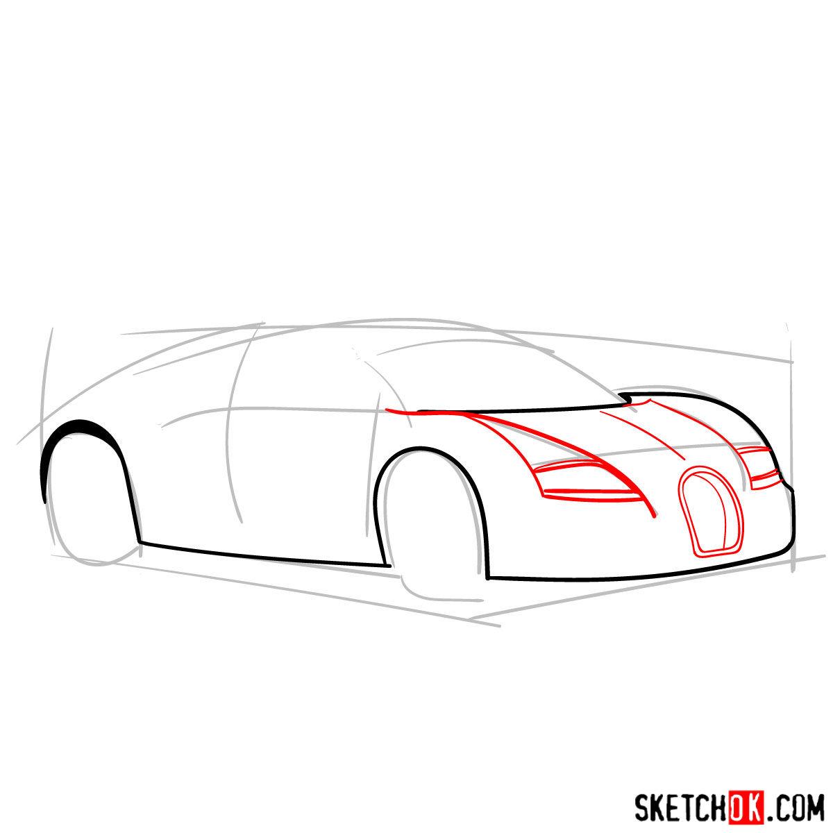 How to draw Bugatti Veyron 16.4 Super Sport - step 04