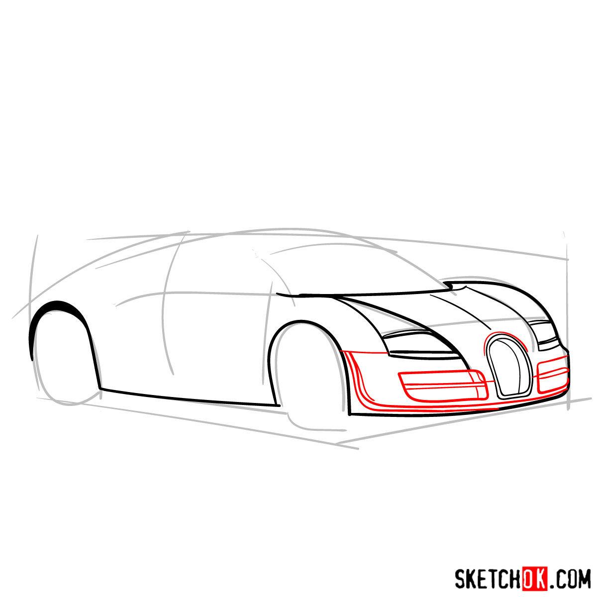 How to draw Bugatti Veyron 16.4 Super Sport - step 05