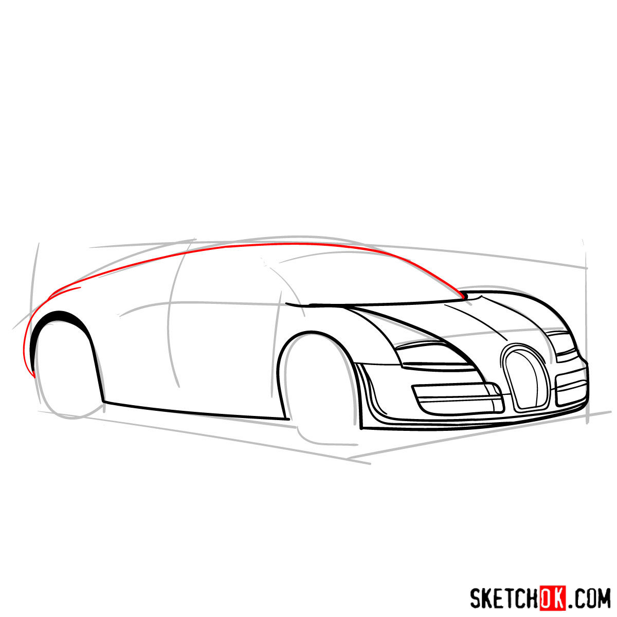 How to draw Bugatti Veyron 16.4 Super Sport -  step 06