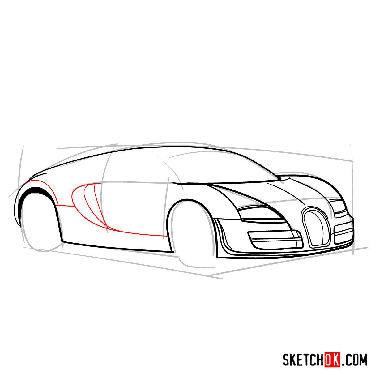 How to draw Bugatti Veyron 16.4 Super Sport - step 07