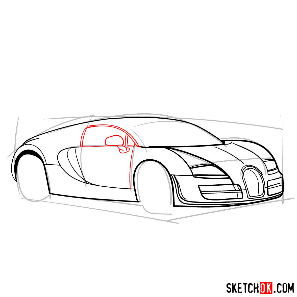 How to draw Bugatti Veyron 16.4 Super Sport - step 08