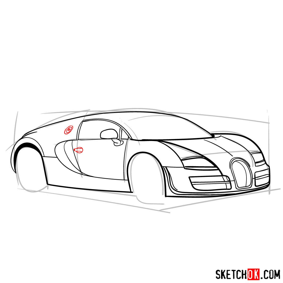 How to draw Bugatti Veyron 16.4 Super Sport - step 09