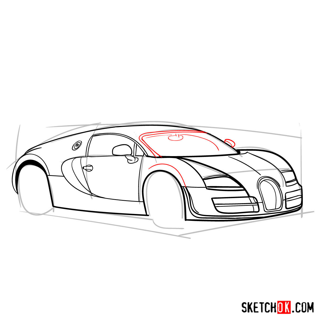 How to draw Bugatti Veyron 16.4 Super Sport - step 10