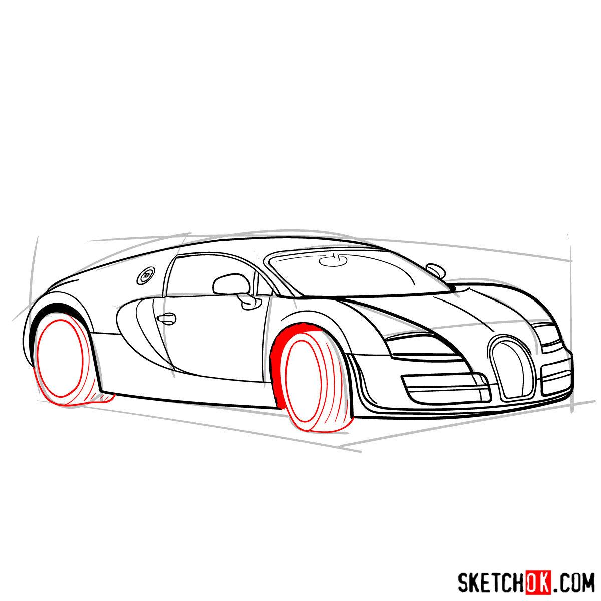 How to draw Bugatti Veyron 16.4 Super Sport - step 11