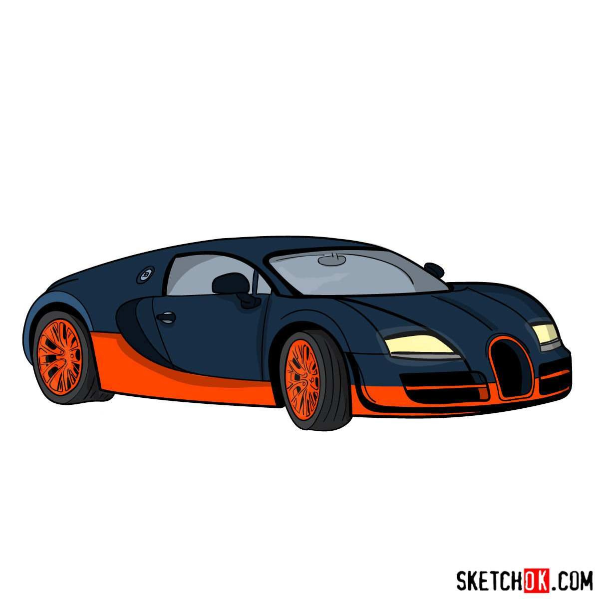 How to draw Bugatti Veyron 16.4 Super Sport