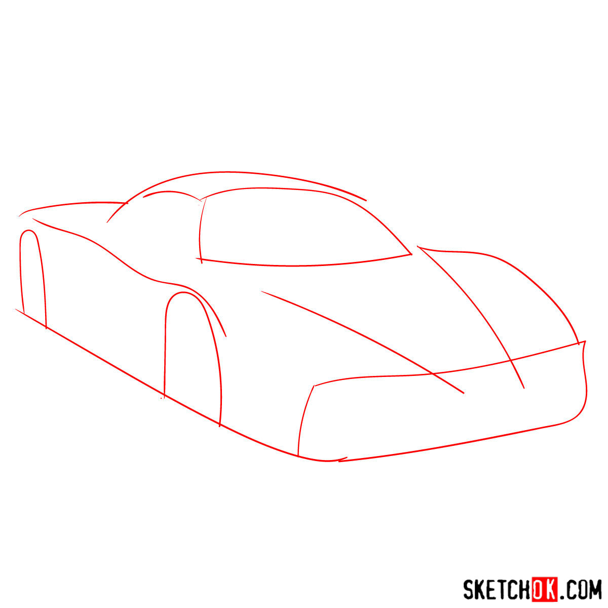How to draw Ferrari Enzo legendary supercar - step 01