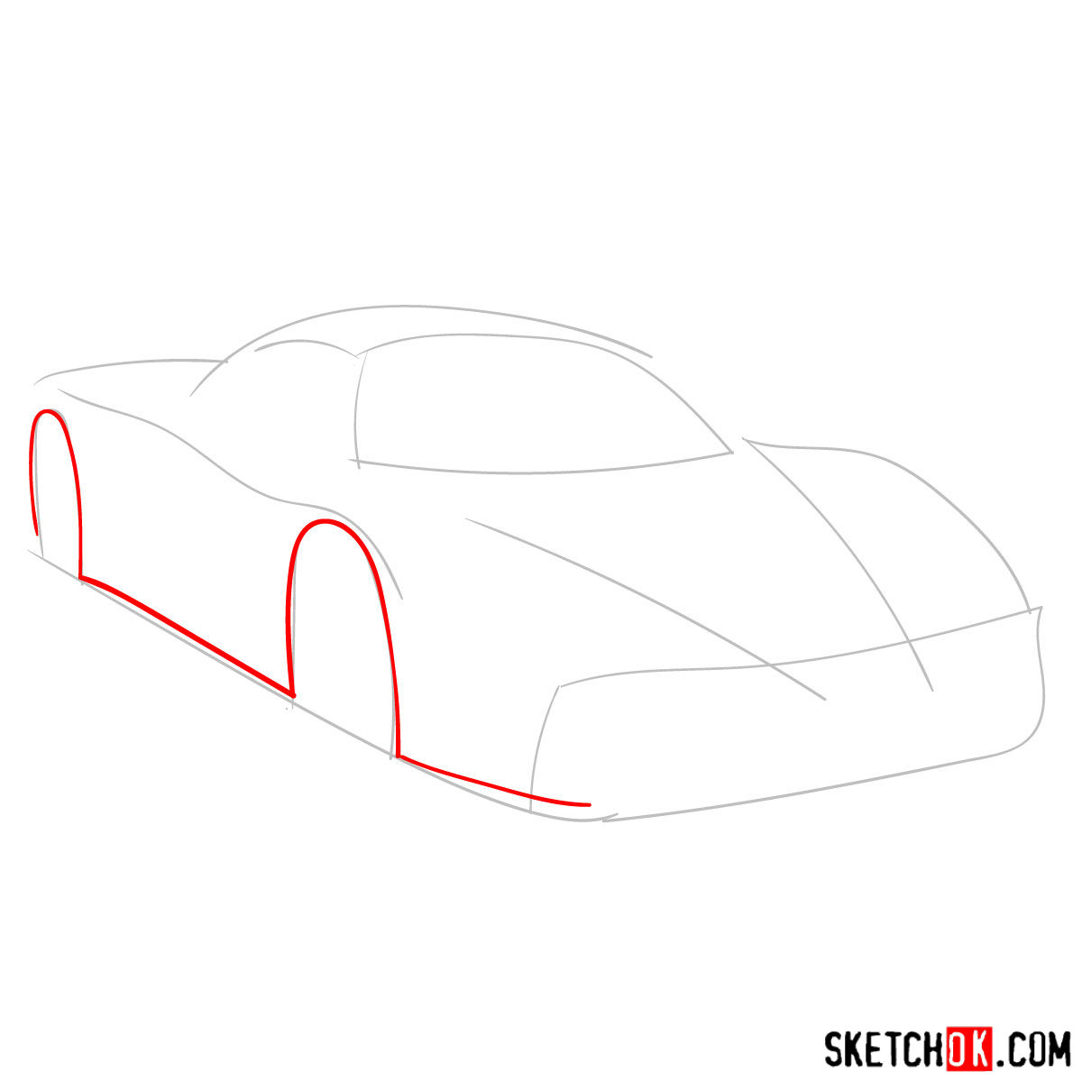 How to draw Ferrari Enzo legendary supercar - step 02