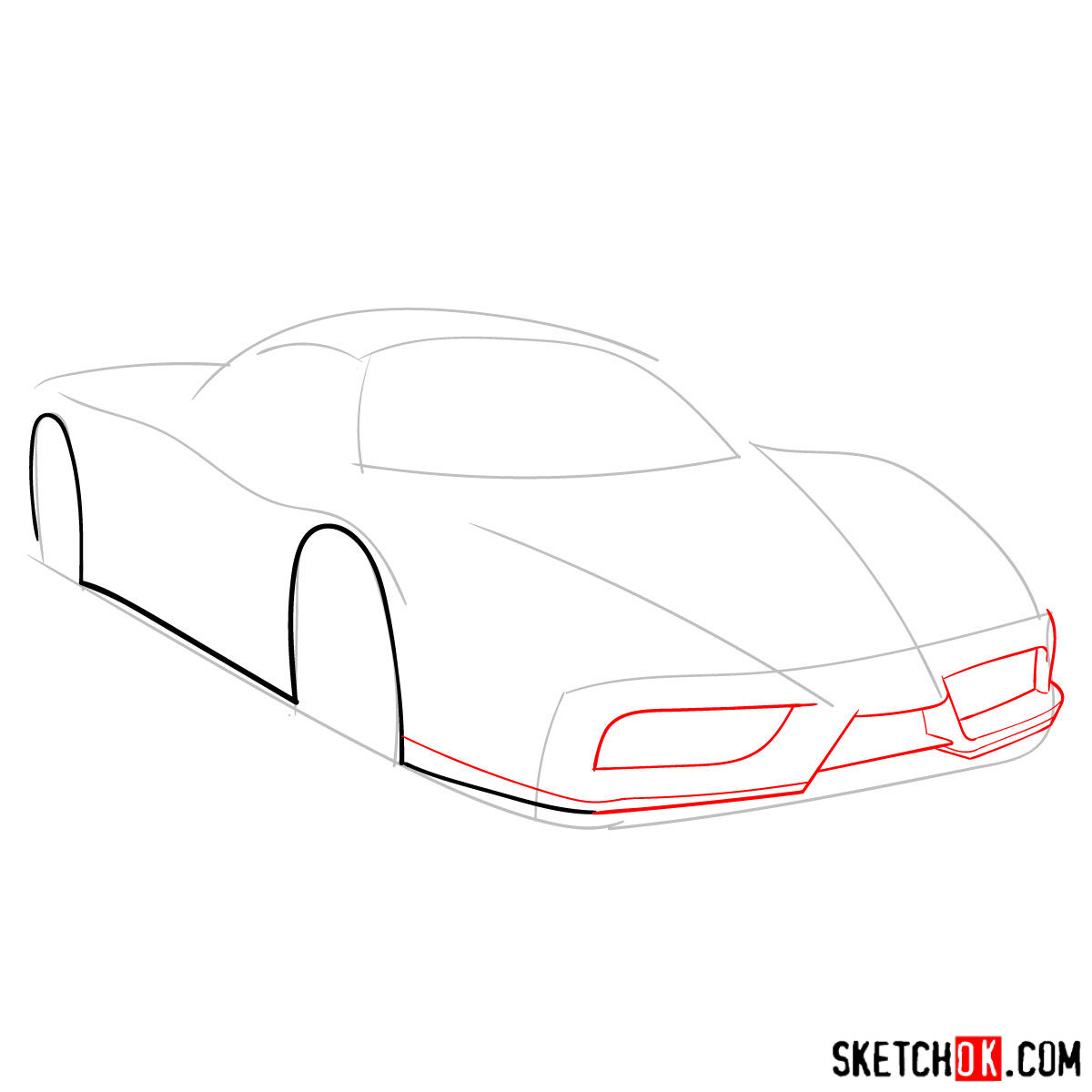How to draw Ferrari Enzo legendary supercar - step 03